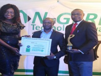Director, Vice-Chancellor's Office, Dr. David Omole (Middle) and Senior Information Officer, Media and Corporate Affairs, Mr. Ayo Ajayi (R ), receiving the Best Use of Technology (Private University) Award on behalf of the University. Photo: Emmanuel Oyedele
