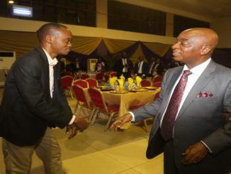 Professor Osabuohien being congratulated by the Chancellor of the University, Dr. David Oyedepo