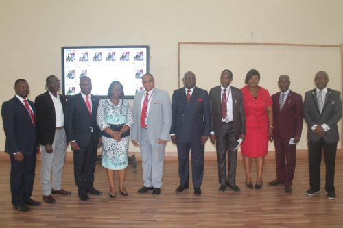 L-R: Head of Mass Communication Department, Covenant University, Dr. Lanre Amodu; Managing Director Alphabet Media Academy and Pitch Judge, Mr. Eki Adzufeh; Registrar, Covenant University, Dr. Olumuyiwa Oludayo; Managing Director, STB McCANN and Pitch Judge, Mrs. Omowunmi Owodunni; Deputy Vice-Chancellor, Covenant University, Prof. Shalom Chinedu; Group Managing Director SO&U SAATCHI AFRICA and Lead Pitch Judge, Mr. Udeme Ufot, MFR; Dean College of Business and Social Sciences, Prof. Philip Alege; Deputy Director, Registration and Career Matters, APCON, Ms. Martha Onyebuchi; Chaplain, Covenant University, Pastor Promise Omidiora; and Induction/Pitch Facilitator and Senior Lecturer, Mass Communication Department, Covenant University, Dr. Oscar Odiboh during the 1st APCON Induction and 2nd Annual Advertising Pitch Contest held at Covenant University Centre for Research, Innovation and Discovery, recently.