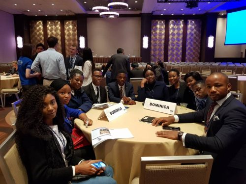Covenant students and thier Chapron, Dr. Oluyemi Fayomi (3rd Left) representing Dominican Republic at the National Model United Nations 2018