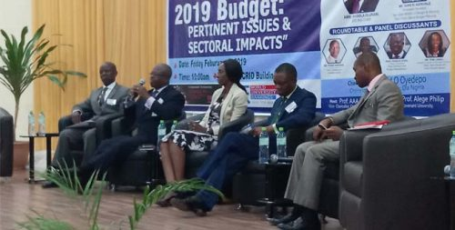 L-R: Olurinola, Iyoha, Lawal, Aigbogun and the Moderator at the Discussion
