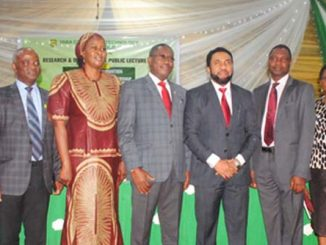 L-R Deputy Rector Administration, Dr. Titilayo Ukabam, Deputy Rector Academics, Dr. (Engr.) Kehinde Osifala, CAPA Secretary General, Mrs. Jaoh Faal, Yabatech Rector, Engr. Obafemi Omokungbe, CEO Slot System Limited, Engr. Nnamdi Ezeigbo, Yabatech Registrar, Dr. Olukayode Momodu, Polytechnic Librarian, Mrs. Taye Adebowale, and Former Yabatech Rector, Dr. Olubunmi Owoso.