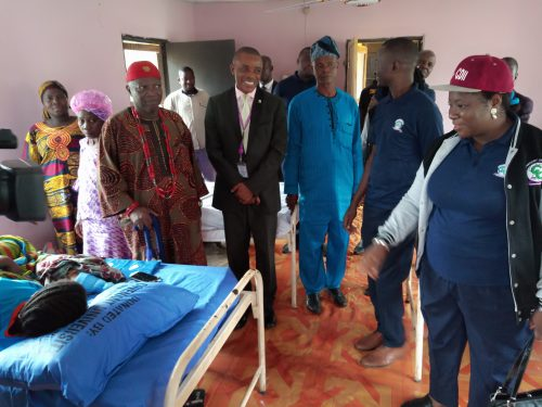 Prof.Williams, Oba Fagbenro and other CU Officials inspecting the renovated health facilities