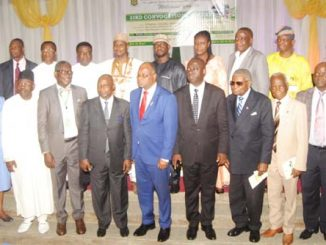 Guests and Principal Officers of Yaba College of Technology in a group photo at the 33rd Convocation Lecture of the College